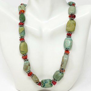 Artisan Chrysocolla Stone Red Coral Necklace